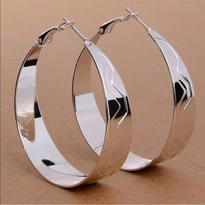 Jewelry - STERLING SILVER PLATED THICK CLASSIC SIMPLE HOOP